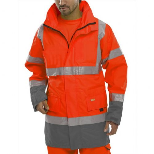 BSeen Hi Vis Red / Grey Traffic Jacket